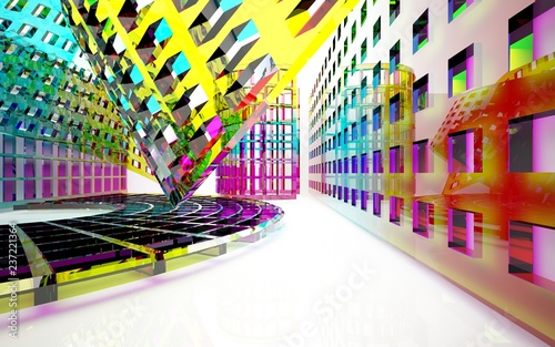abstract architectural interior with gradient geometric glass sculpture with black lines. 3D illustration and rendering - 237221364