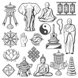 Hinduism and Buddhism signs and icons isolated set