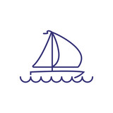 Yacht line icon. Yachting boat on white background. Sport concept. Vector illustration can be used for topics like sport, activity, yachting