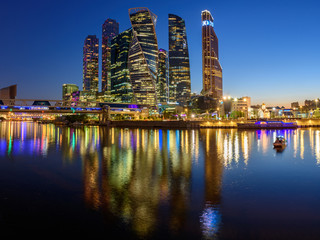 Panoramic night view of the business district in Moscow - Moscow International Business Center