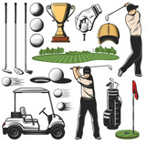 Golf sport items icons and player with play course