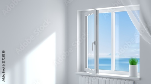 White plastic window in the room - 237231389