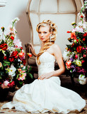 beauty emotional blond bride in luxury interior dreaming, crazy