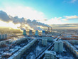 Thermal Power Station in Moscow, sunset in winter top view - 237232329