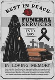 Widow and coffin, funeral service, interment