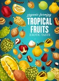 Tropical fruits poster for natural vegetarian food - 237233927