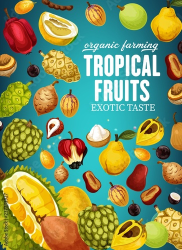 Tropical fruits poster for natural vegetarian food