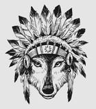 Wolf in a headdress of indians. Hand drawn illustration converted to vector