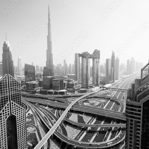 obraz lub plakat Dubai skyline, aerial top view to downtown city center landmarks. Famous viewpoint, black and white toned