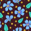 Seamless pattern with blue flowers - 237253107