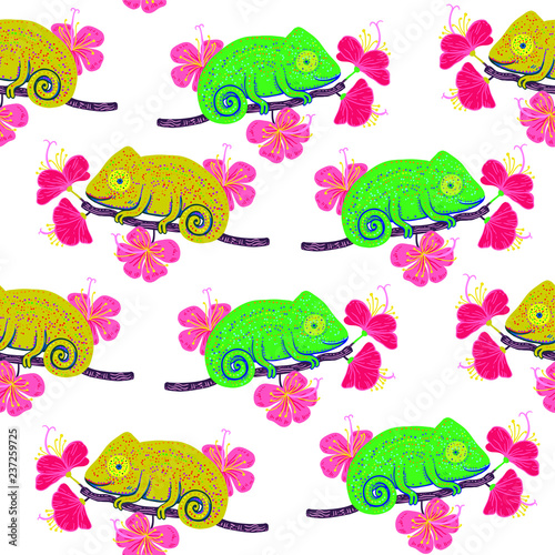 obraz lub plakat Seamless pattern with colorful chameleons and hibiscus flowers