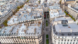 Paris, aerial view of ancient buildings in the center, beautiful city