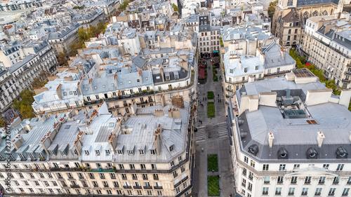 fototapeta na ścianę Paris, aerial view of ancient buildings in the center, beautiful city