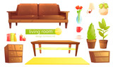 Furniture design set. Modern Sofa and chairs with a blanket, pillows and next to a wooden coffee table. - 237267941