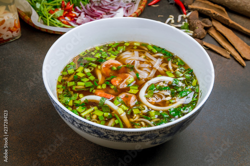 Vietnamese soup Pho with shrimp and squid - 237284123