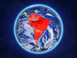 South America from space. Planet Earth with country borders and extremely high detail of planet surface and clouds. - 237285329