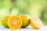 Fresh tangerine orange fruit with green nature background