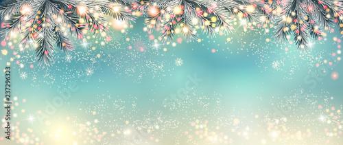 Abstract holiday christmas light panorama. Vector illustration