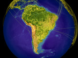 South America from space on Earth with country borders and lines representing international communication, travel, connections. - 237297105