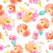 Watercolor Floral Pattern. Modern Floral Pattern for Textile Design with Peonies - 237300977