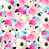 Modern, Colorful Watercolor Flower Pattern. Cute Ditsy Floral Pattern