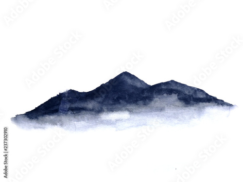 watercolor ink landscape mountain fog . Traditional oriental. asia art style.isolated on a white background © atichat