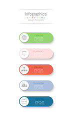 Infographic design elements for your business data with 5 options, parts, steps, timelines or processes. Vector Illustration. © Thanaporn