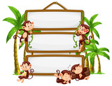 Monkey with signboard on white background - 237311173