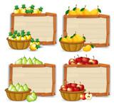 Fruit on wooden banner - 237314375