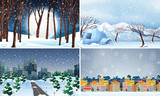 Set of cold winter background - 237314520