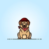 Pug flat illustration. Pictogram for web, mobile and infographics