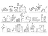 Shelves set graphic black white isolated kitchenware sketch illustration vector - 237314978