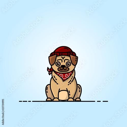 Pug flat illustration. Pictogram for web, mobile and infographics