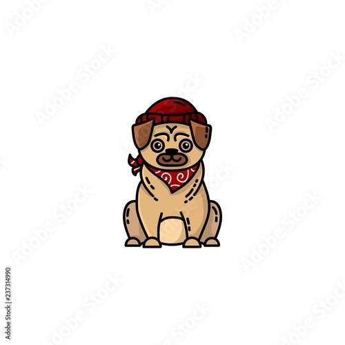Hipster pug flat illustration. Pictogram for web, mobile and infographics