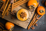 Fresh persimmon smoothie with banana and spices. Selective focus. Shallow depth of field. - 237316758