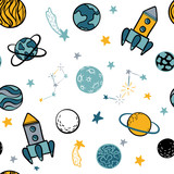 Childish seamless pattern hand drawn space elements space, rocket, star, planet, space probe. Trendy kids vector illustration for wrapping, poster, web design, kids fabric, textile, nursery wallpaper.