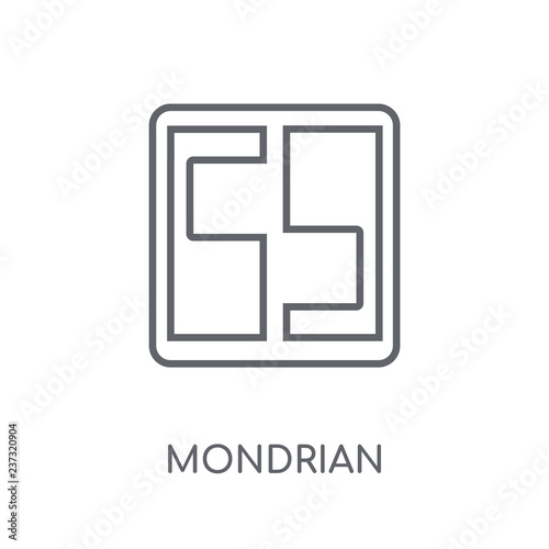 Mondrian linear icon. Modern outline Mondrian logo concept on white background from Museum collection © BestVectorStock