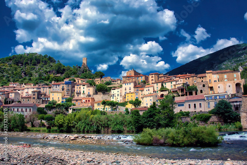 The village of Roquebrun in the Languedoc region of France - 237323570