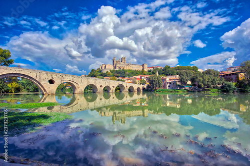 Fototapeta The Old Bridge at Beziers, south of France