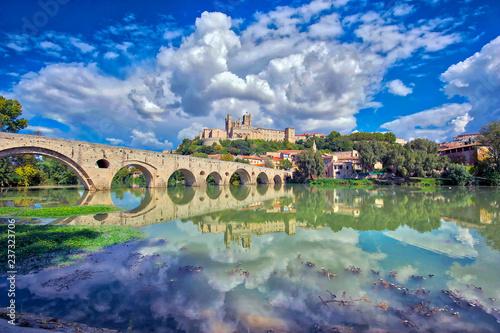 Obraz na płótnie The Old Bridge at Beziers, south of France