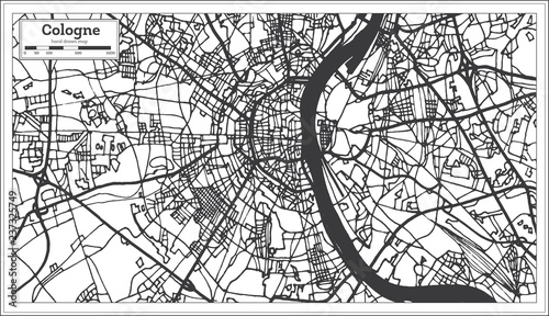 Cologne Germany City Map in Retro Style. Outline Map. | Buy Photos ...