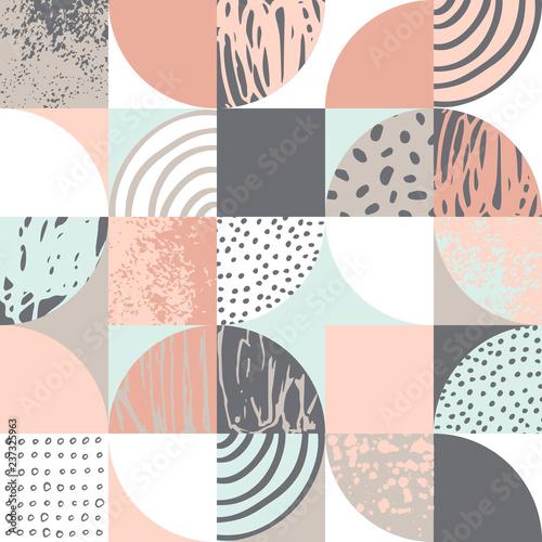 Modern seamless geometric pattern: semicircles, circles, squares, grunge textures, doodles - 237325963