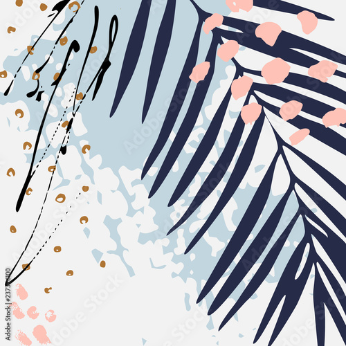 Modern vector illustration with tropical leaves, grunge texture, doodles, minimal elements. - 237326100