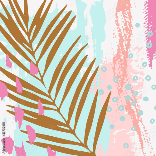 Modern vector illustration with tropical leaves, grunge texture, doodles, minimal elements. - 237326111