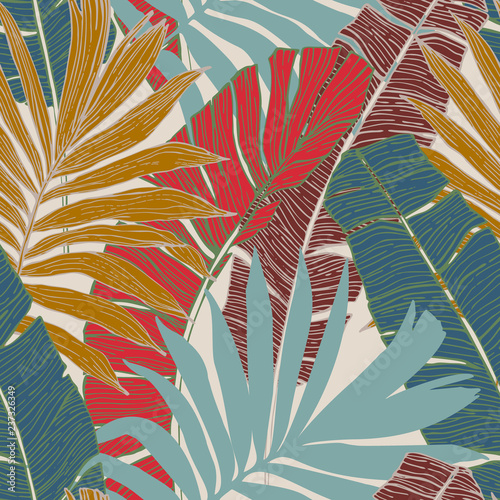 Hand drawn abstract tropical summer background : palm tree and banana leaves in silhouette, line art - 237326349