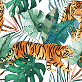 Exotic seamless pattern. Tropical leaves and tiger. Vector illustration - 237334963