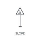 Slope sign linear icon. Modern outline Slope sign logo concept on white background from Traffic Signs collection