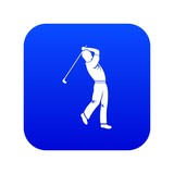 Golf player icon digital blue for any design isolated on white vector illustration