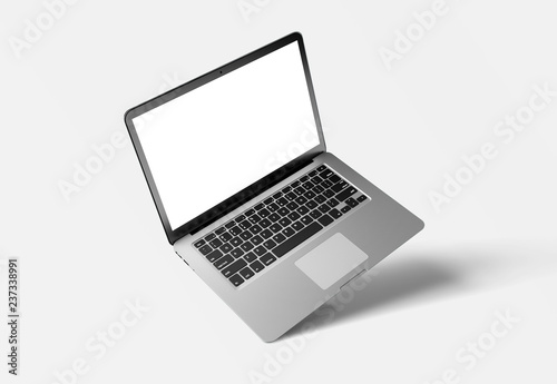 Mock up of a computer isolated on a background with shadow