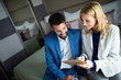 Businesspeople on business trip staying in hotel